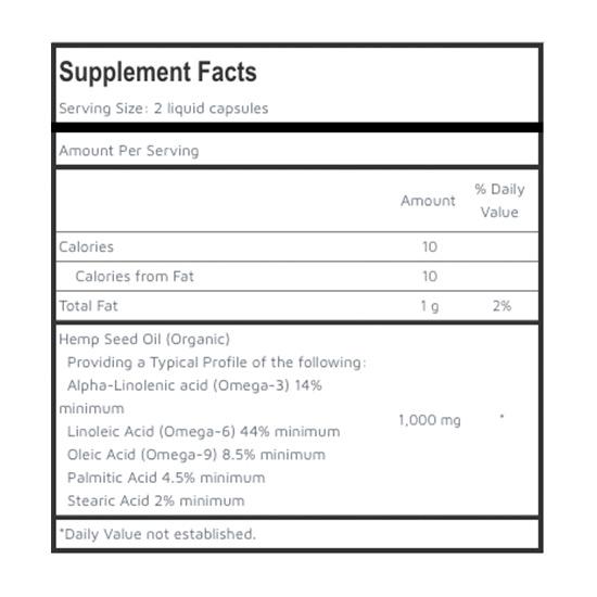 Hemp Seed Oil Supplement Facts