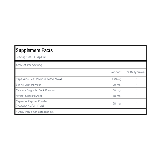 Private Label Cape Aloe Colon Care Supplement Facts