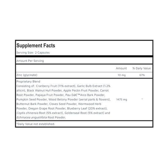 Private Label Parasite Detox Supplement Facts