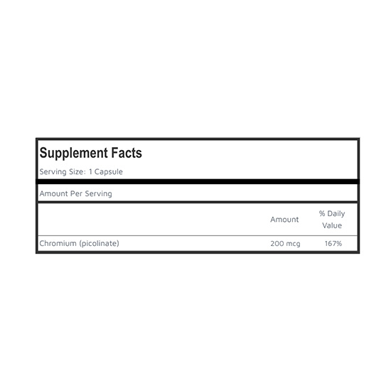 Private Label Chromium Picolinate Supplement Facts