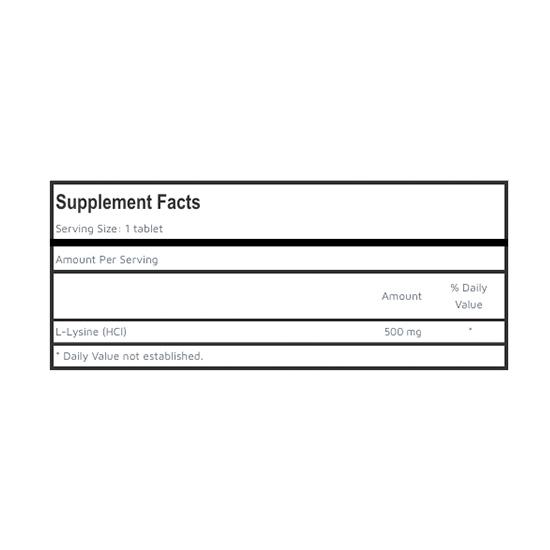 Private Label L-Lysine Supplement Facts