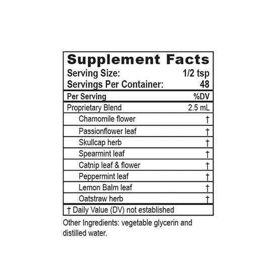 Private Label Calming Formula Supplement Facts