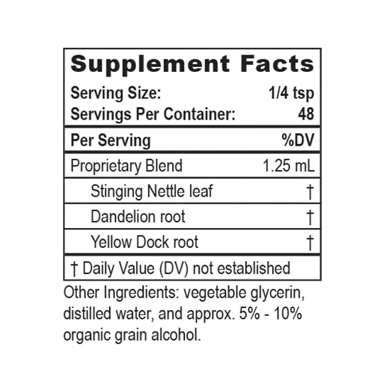 Private Label Herbal Iron Supplement Facts