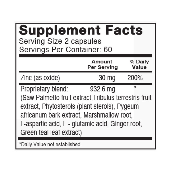 Private Label Male Support Supplement Facts