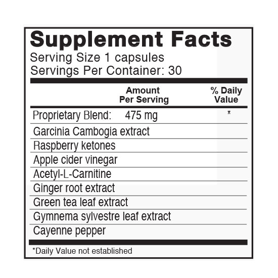 Private Label Slimming Formula Supplement Facts