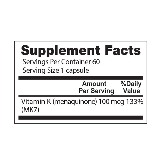 Private Label Vitamin K2 Supplement Facts
